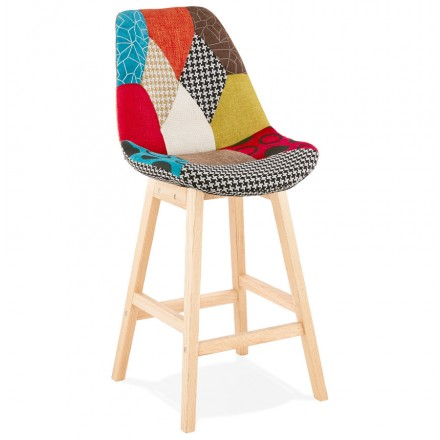 Tabouret de bar mi-hauteur bohème patchwork en tissu MAGIC MINI (multicolore)