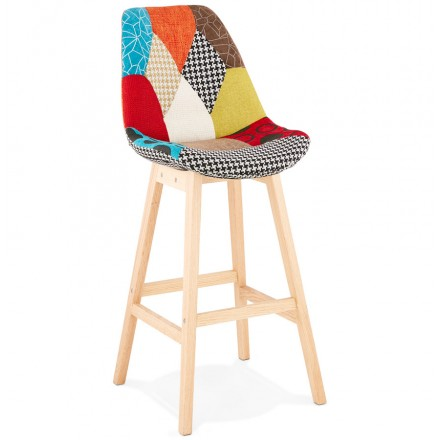 Tabouret de bar chaise de bar bohème patchwork en tissu MAGIC (multicolore)
