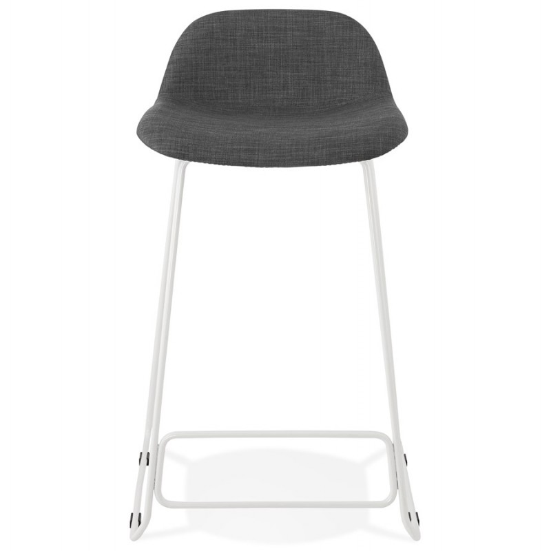 Small-height bar stool in white metal foot fabric CUTIE MINI (anthracite grey) - image 46840