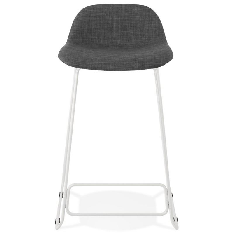 Tabouret de bar mi-hauteur en tissu pieds métal blanc CUTIE MINI (gris anthracite) - image 46840