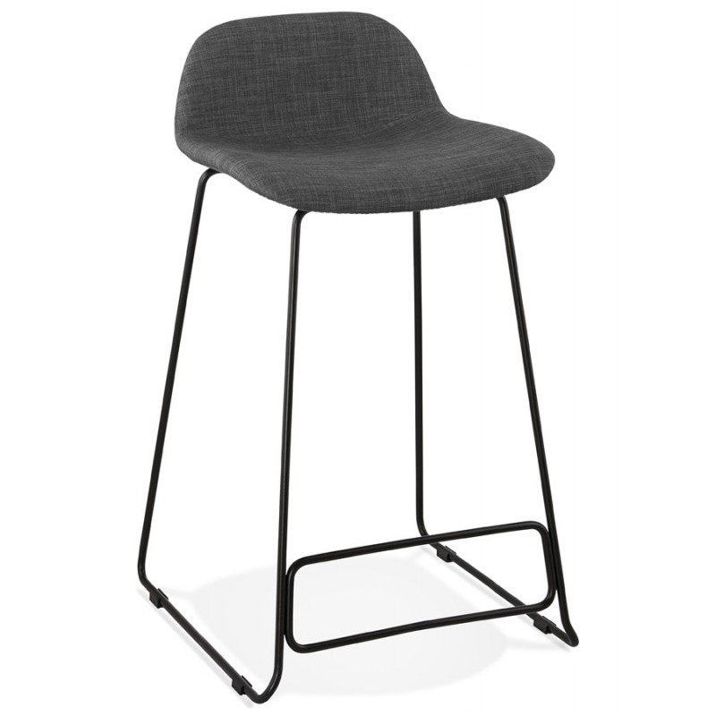 Industrial mid-height bar bar stool in black metal foot fabric CUTIE MINI (anthracite grey) - image 46863