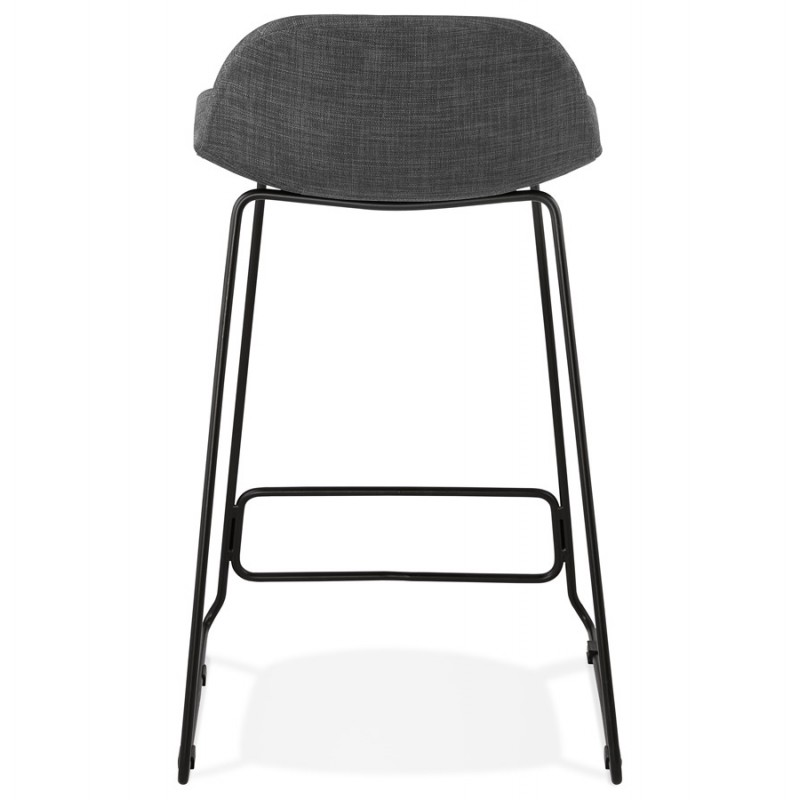 Industrial mid-height bar bar stool in black metal foot fabric CUTIE MINI (anthracite grey) - image 46867
