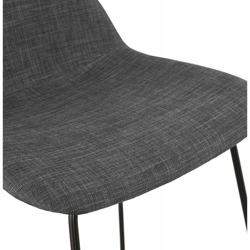 Tabouret de bar mi-hauteur industriel en tissu pieds métal noir CUTIE MINI (gris anthracite) - image 46869