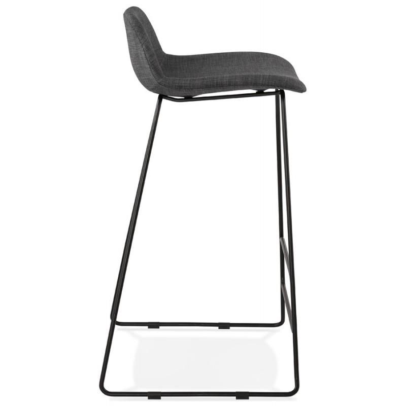 Tabouret de bar chaise de bar industriel en tissu pieds métal noir CUTIE (gris anthracite) - image 46876