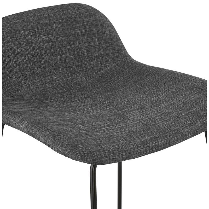 Tabouret de bar chaise de bar industriel en tissu pieds métal noir CUTIE (gris anthracite) - image 46879