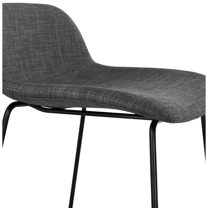Tabouret de bar chaise de bar industriel en tissu pieds métal noir CUTIE (gris anthracite) - image 46882