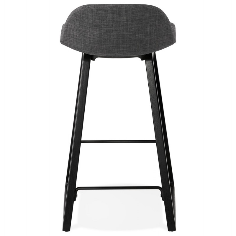 Tabouret de bar mi-hauteur industriel en tissu pieds bois noir MELODY MINI (gris anthracite) - image 46891
