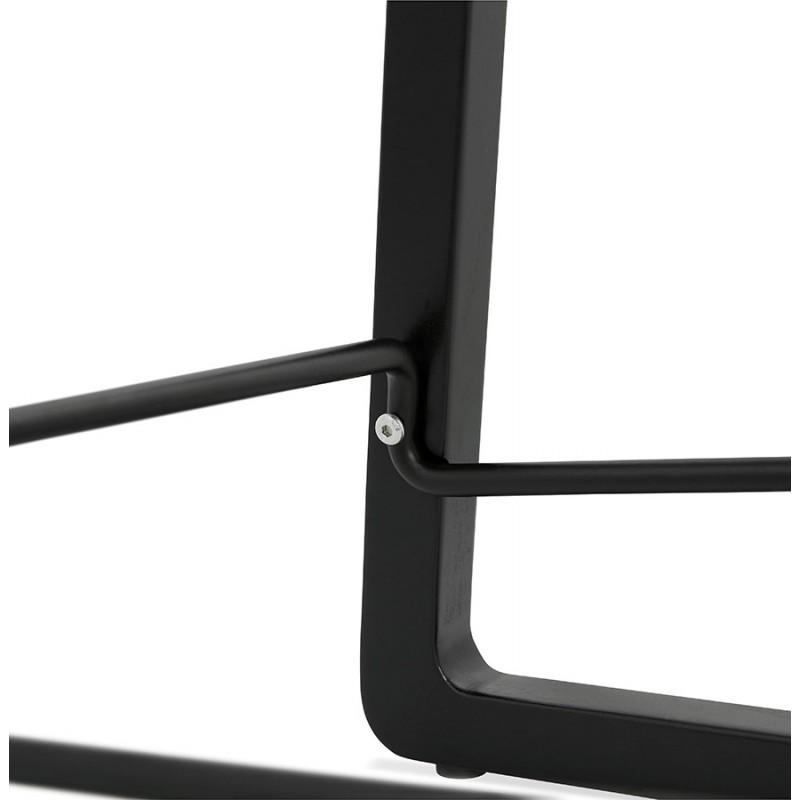 Tabouret de bar mi-hauteur industriel en tissu pieds bois noir MELODY MINI (gris anthracite) - image 46896