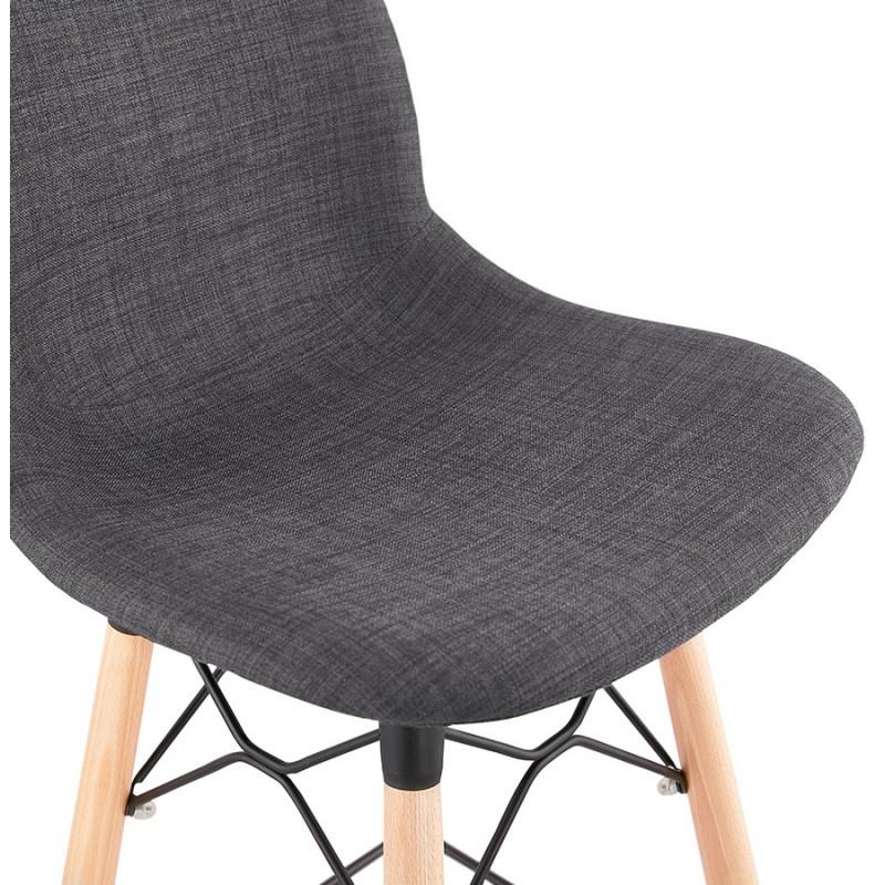 Tabouret de bar design scandinave en tissu PAOLO (gris foncé) - image 46920