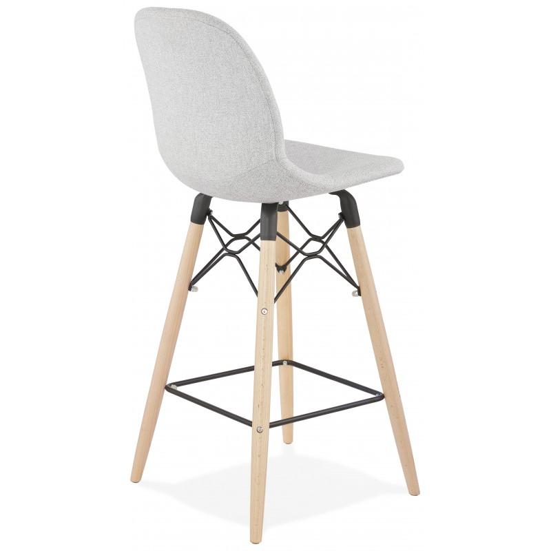 Tabouret de bar chaise de bar mi-hauteur scandinave en tissu PAOLO MINI (gris clair) - image 46960