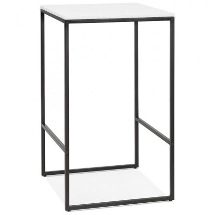 Table haute mange-debout design en bois pieds métal noir HUGO (blanc)