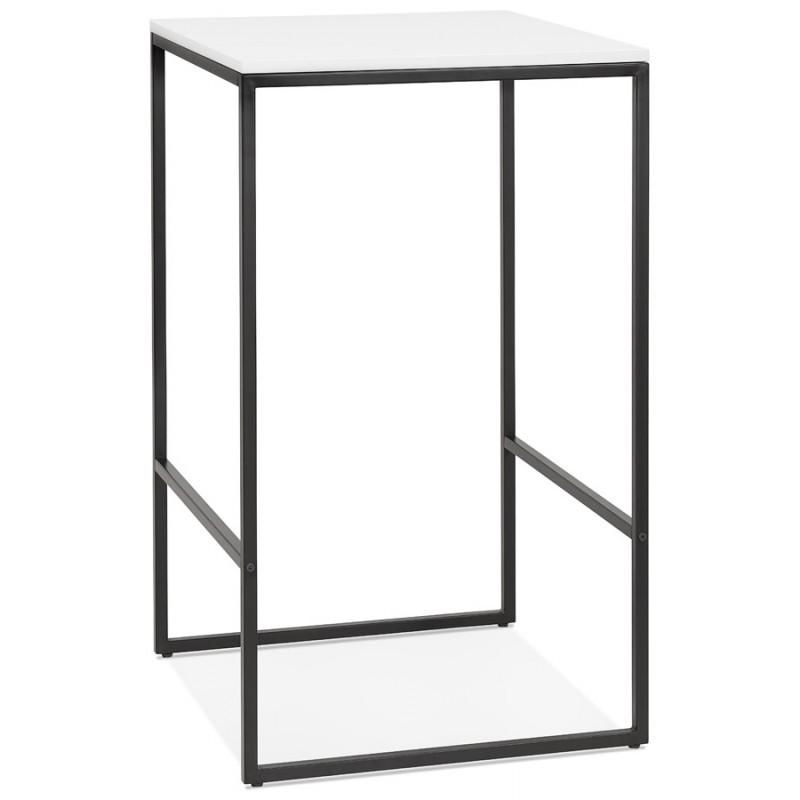 Hoher Tisch aufgesiebt Holzdesign schwarz Metallfüße HUGO (weiß) - image 46996