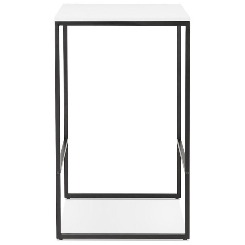 Hoher Tisch aufgesiebt Holzdesign schwarz Metallfüße HUGO (weiß) - image 46997