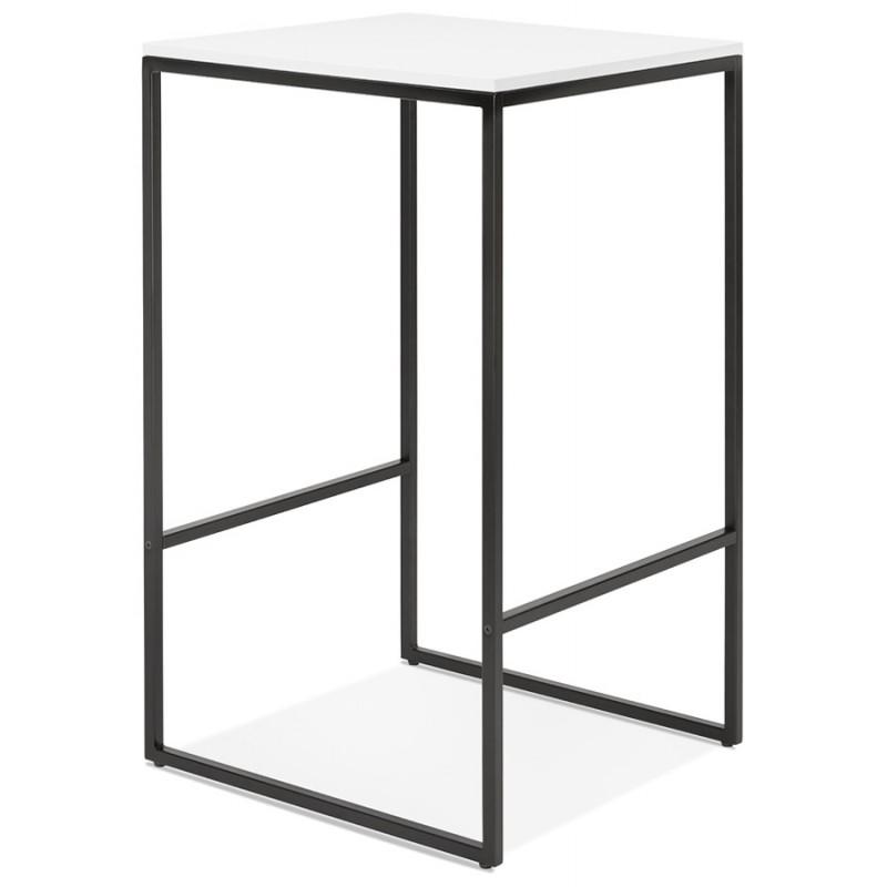 Table haute mange-debout design en bois pieds métal noir HUGO (blanc) - image 46998