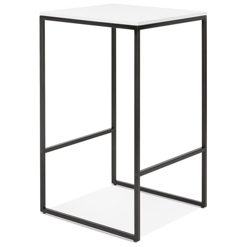 Hoher Tisch aufgesiebt Holzdesign schwarz Metallfüße HUGO (weiß) - image 46998