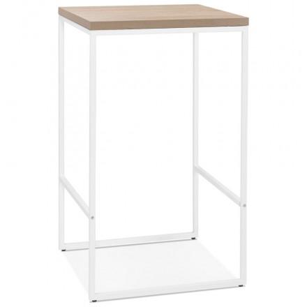 Table haute mange-debout design en bois pieds métal blanc LUCAS (finition naturelle)