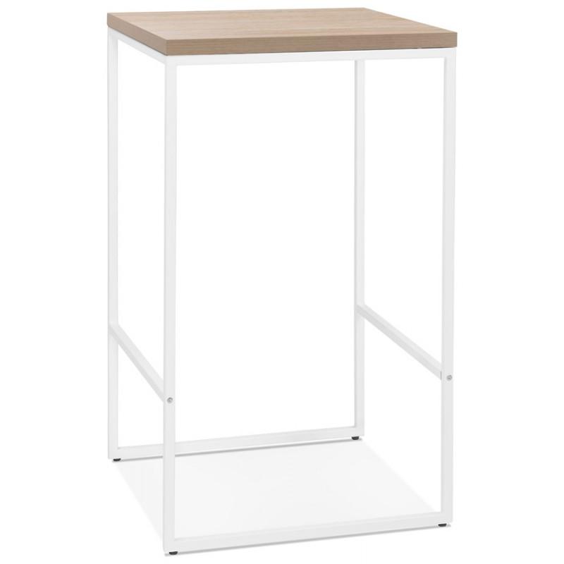 Table haute mange-debout design en bois pieds métal blanc LUCAS (finition naturelle) - image 47054