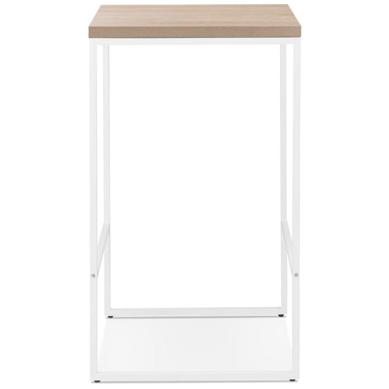 Table haute mange-debout design en bois pieds métal blanc LUCAS (finition naturelle) - image 47055