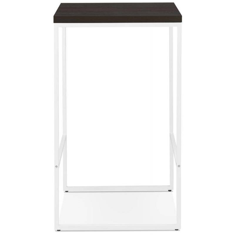 Table haute mange-debout design en bois pieds métal blanc LUCAS (wengé) - image 47066