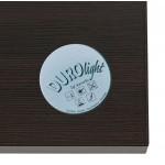 Table haute mange-debout design en bois pieds métal blanc LUCAS (wengé)