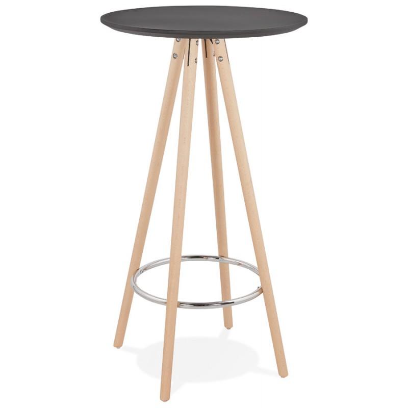 Table haute mange-debout design en bois pieds bois couleur naturelle CHLOE (noir)
