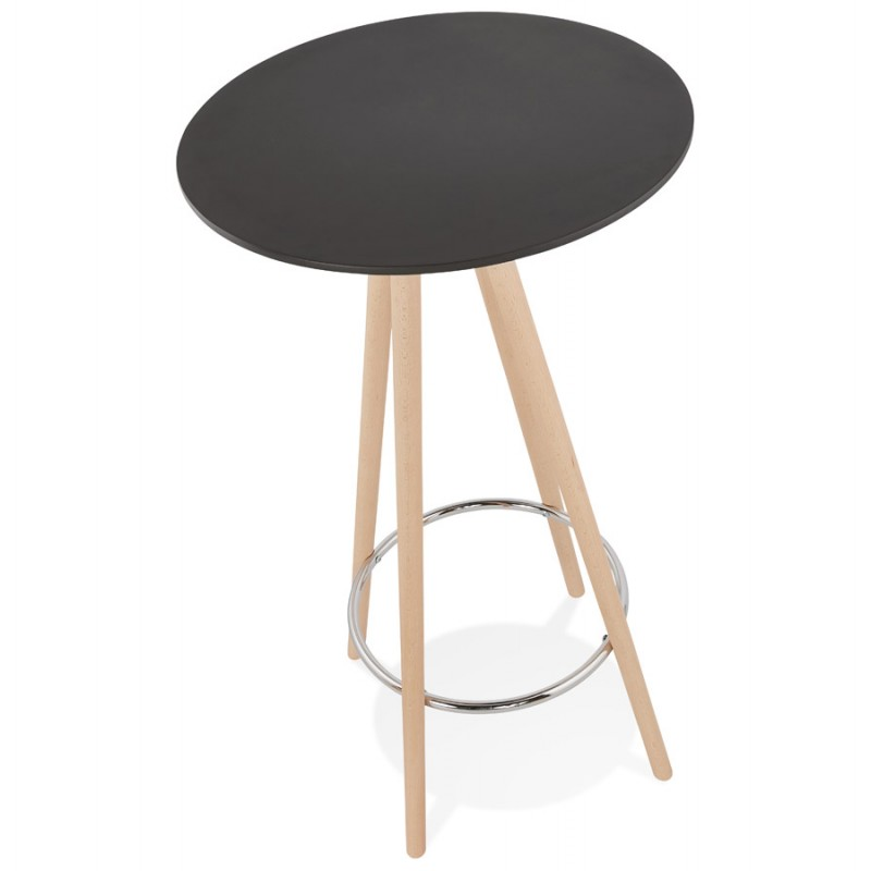 Table haute mange-debout design en bois pieds bois couleur naturelle CHLOE (noir) - image 47076