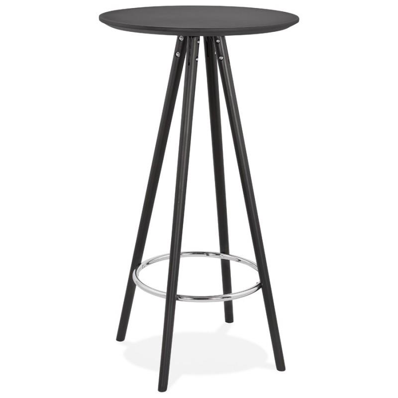 Table haute mange-debout design en bois pieds bois CHLOE (noir) - image 47083