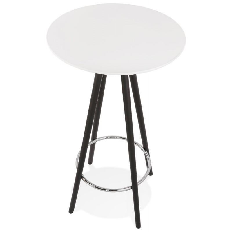 Table haute mange-debout design en bois pieds bois noir CHLOE (blanc) - image 47094
