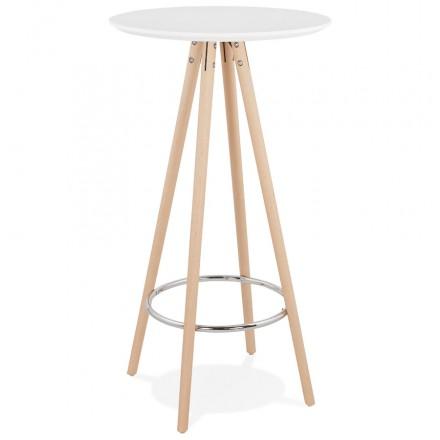 Table haute mange-debout design en bois pieds bois couleur naturelle CHLOE (blanc)