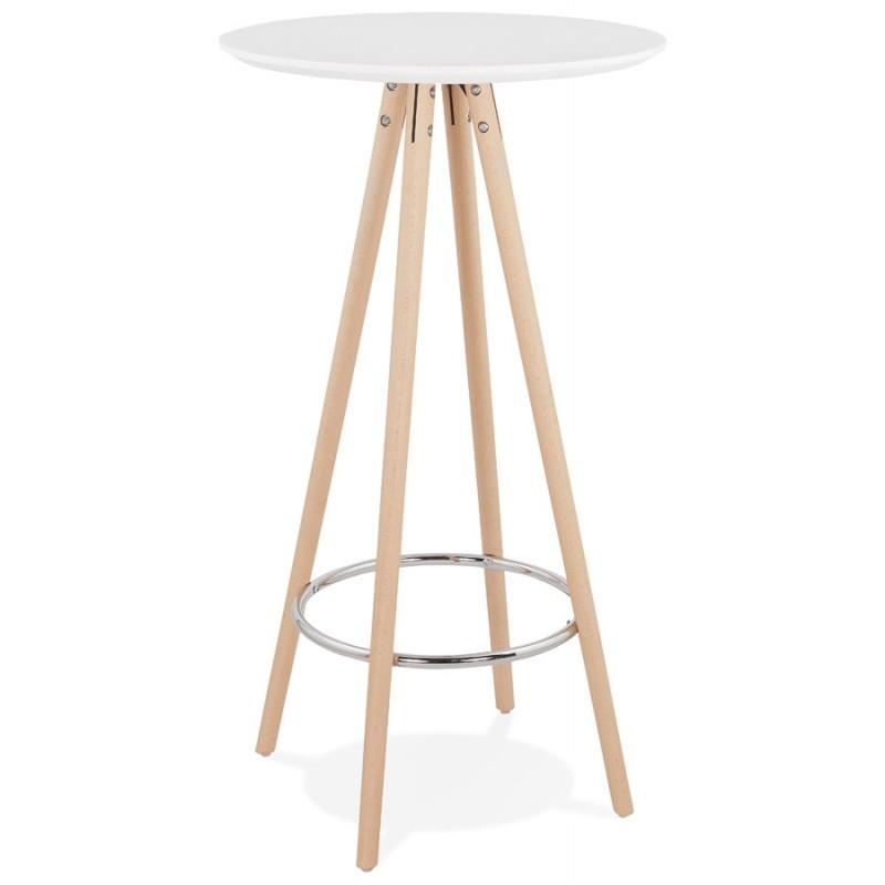 Table haute mange-debout design en bois pieds bois couleur naturelle CHLOE (blanc) - image 47101