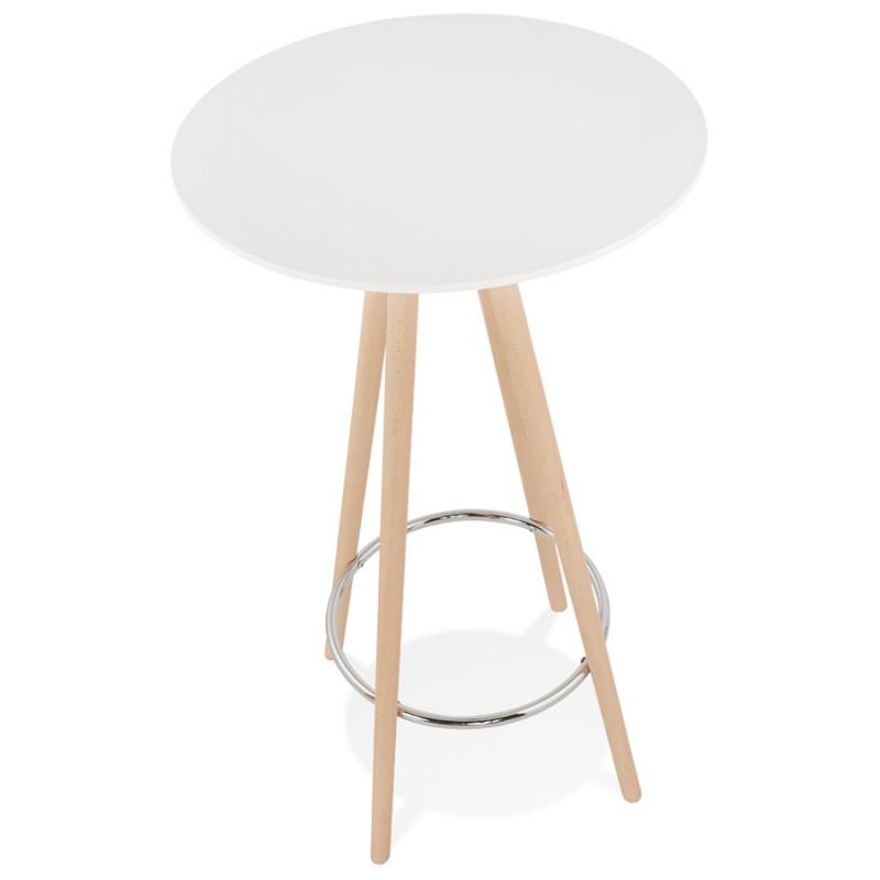 Table haute mange-debout design en bois pieds bois couleur naturelle CHLOE (blanc) - image 47103