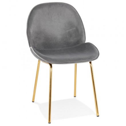 Vintage and retro chair in velvet golden feet TYANA (dark grey)