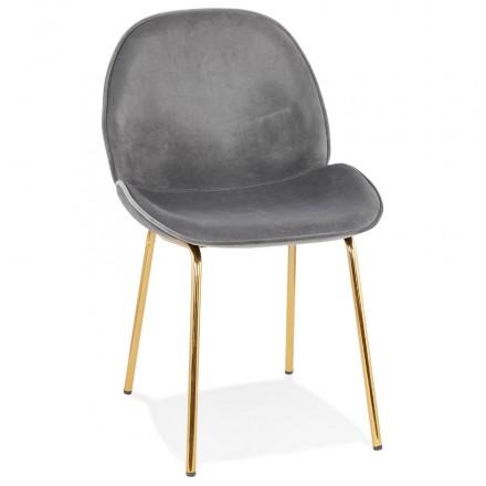 Chaise vintage et rétro en velours pieds dorés TYANA (gris foncé)