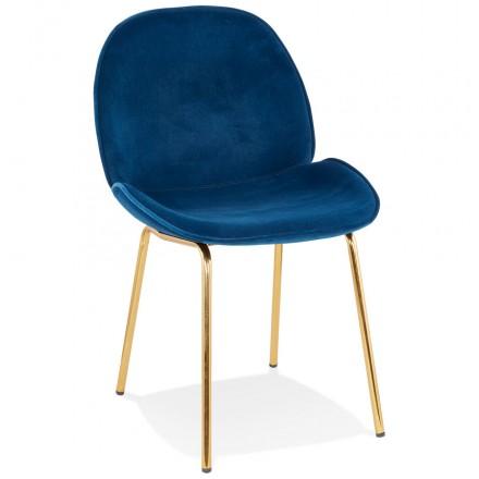 Chaise vintage et rétro en velours pieds dorés TYANA (bleu)