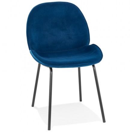 Vintage and retro chair in tYANA black foot velvet (blue)