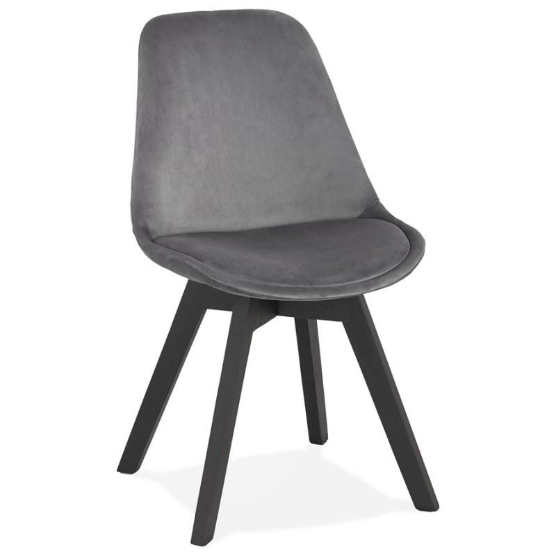 Silla vintage e industrial en terciopelo negro pies LEONORA (gris oscuro) - image 47395