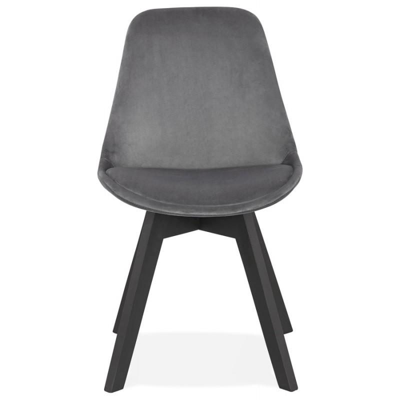 Silla vintage e industrial en terciopelo negro pies LEONORA (gris oscuro) - image 47396