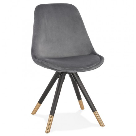 SUZON vintage and retro black and gold foot chair (grey)
