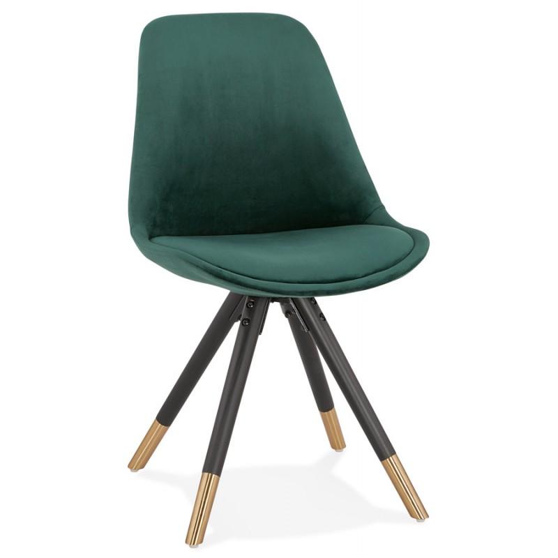Chaise vintage et rétro pieds noirs et dorés SUZON (vert) - image 47457