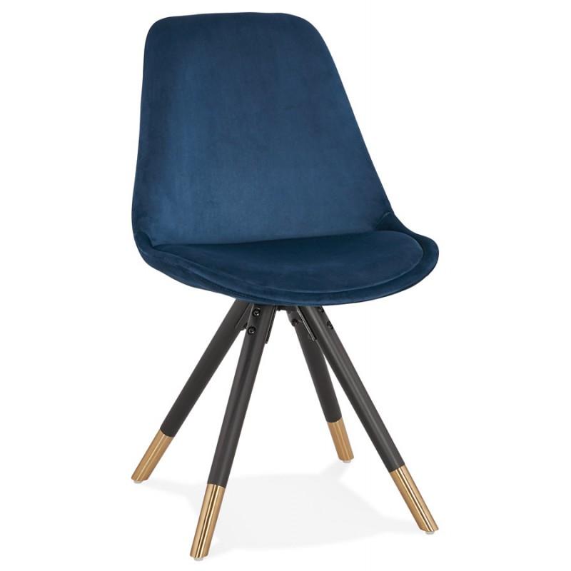 Chaise vintage et rétro en velours pieds noirs et dorés SUZON (bleu) - image 47463