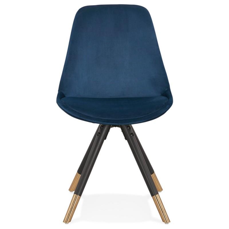 Chaise vintage et rétro en velours pieds noirs et dorés SUZON (bleu) - image 47464