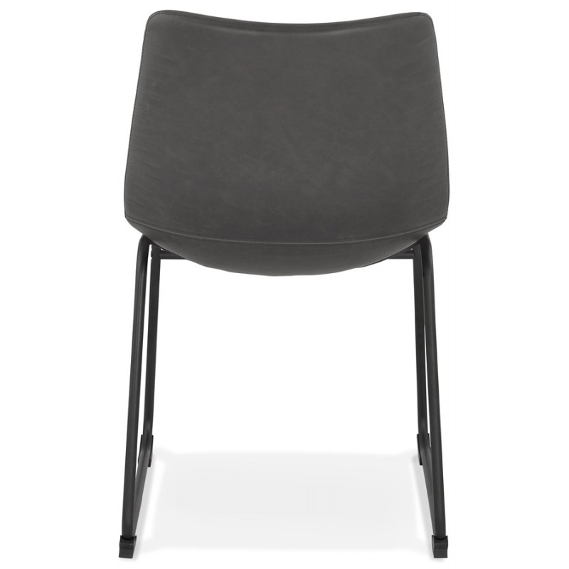 Chaise vintage et industrielle pieds métal noir JOE (gris foncé) - image 47472