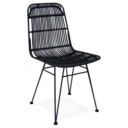 Design Stuhl und Vintage Rattan Füße schwarz Metall BERENICE (schwarz)