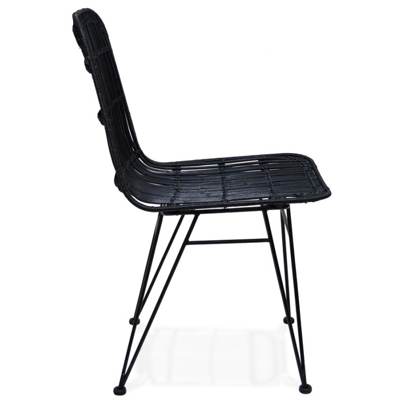 Chaise design et vintage en rotin pieds métal noir BERENICE (noir) - image 47479