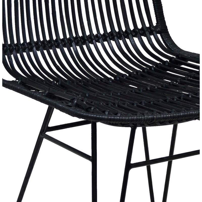 Chaise design et vintage en rotin pieds métal noir BERENICE (noir) - image 47482