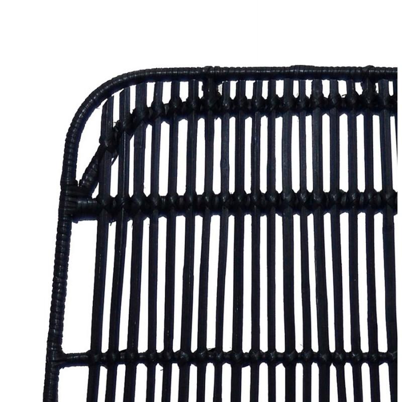 Chaise design et vintage en rotin pieds métal noir BERENICE (noir) - image 47483