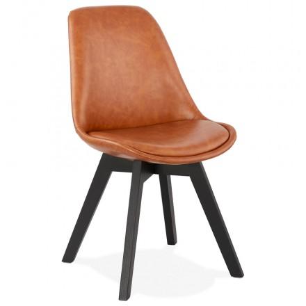 Chaise vintage et industrielle pieds bois noir MANUELA (marron)