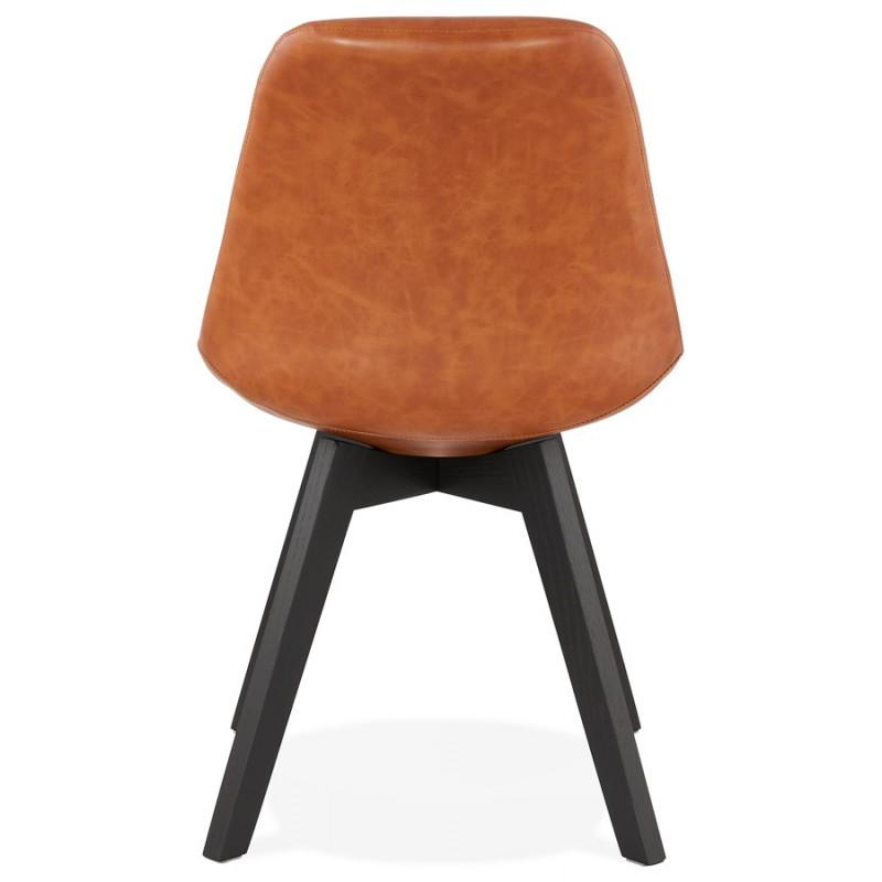 Chaise vintage et industrielle pieds bois noir MANUELA (marron) - image 47488
