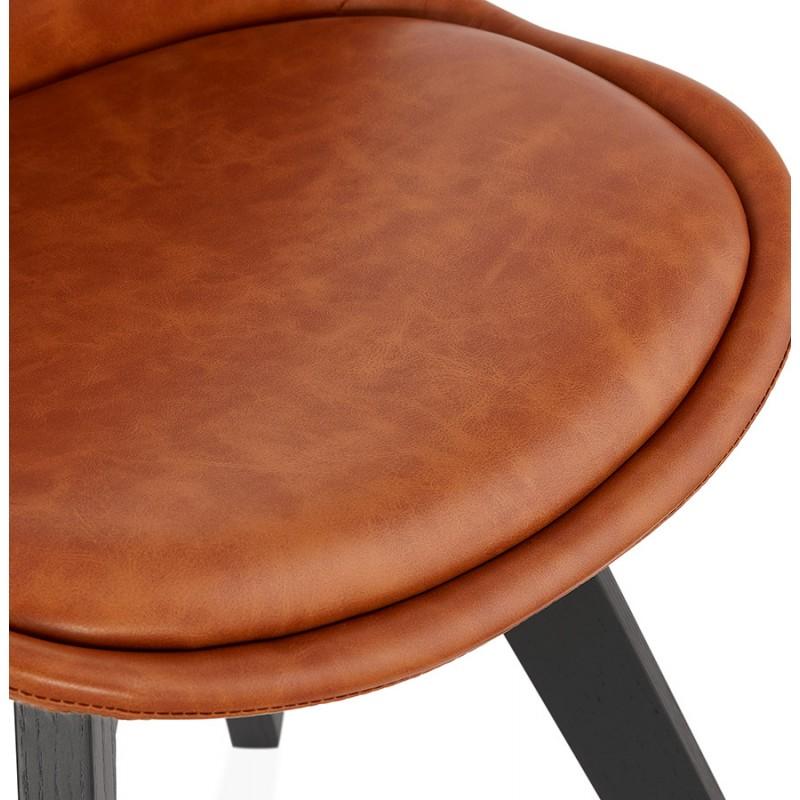 Chaise vintage et industrielle pieds bois noir MANUELA (marron) - image 47490
