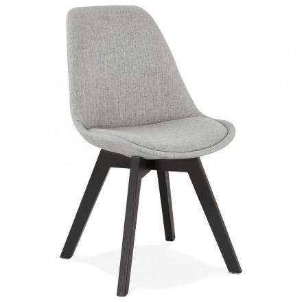 Chaise design en tissu pieds bois noir NAYA (gris)